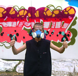 Enjoying a graffiti project at Faringdon Young People's centre's Summer Project