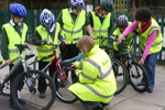 Children being cycle trained